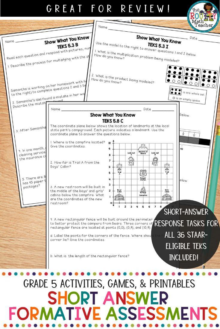 Short Answer Quizzes Grade 5 | TEKS Math Assessments ...
