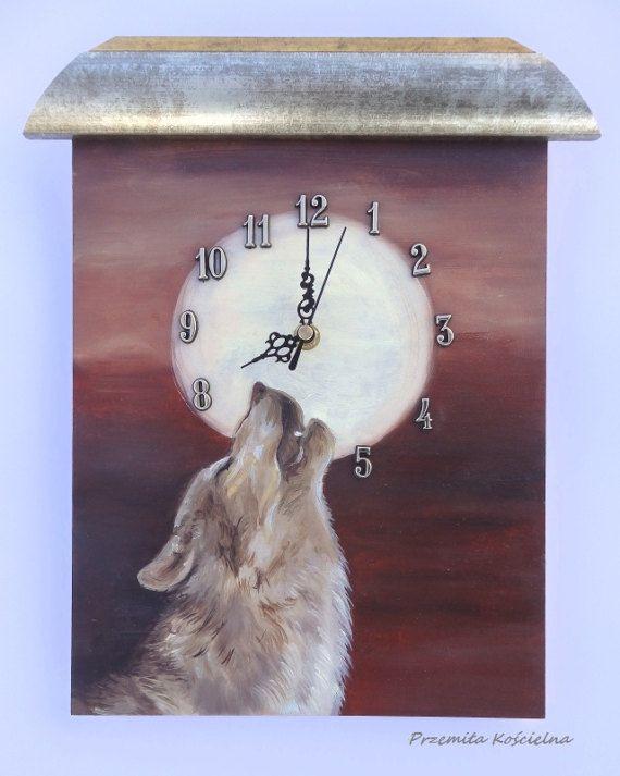 WOLF PAINTED CLOCK Wildlife Original oil by CanisArtStudio on Etsy