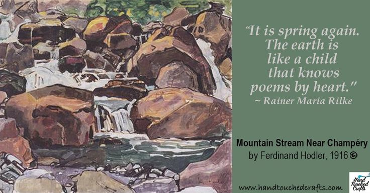 "Oh, the joy of listening to a mountain river in spring and catching the essence of that joy on canvas or paper is even better with the helo of the Humane Art Set - http://www.amazon.com/gp/product/B011I5JD3K  ""It is spring again. The earth is like a child that knows poems by heart.""  ― Rainer Maria Rilke  Mountain Stream Near Champéry By Ferdinand Hodler, painted in 1916  #ArtSupplies #Quotations #Painting #Spring #Inspiration"
