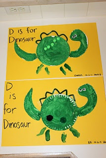 Dinosaur Craft/ Game... Pre make the peices before hand and give each child a body, tail, and head, let them paint it and glue it on...
