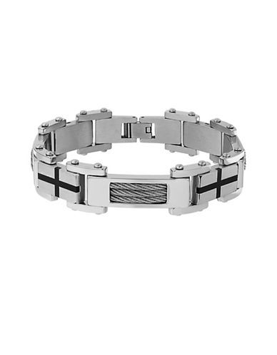 Lord & Taylor Cubic Zirconia Cable Link Bracelet Men's Silver