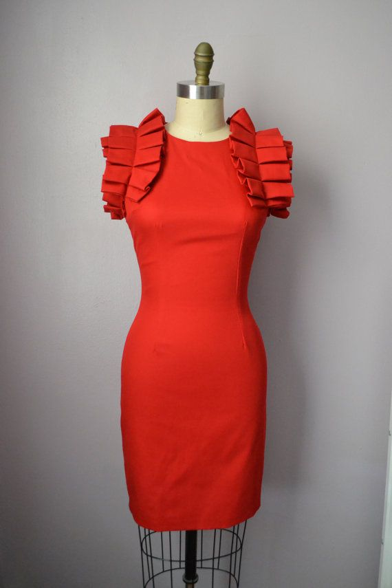 Red Body Con Shift Dress DESIGNER SAMPLE SALE by DanielaTabois, $80.00