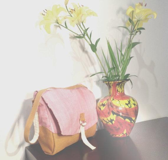 Florence Satchel  Bag- Tan leather, Soft Pink Raw Silk. $71.50, via Etsy.