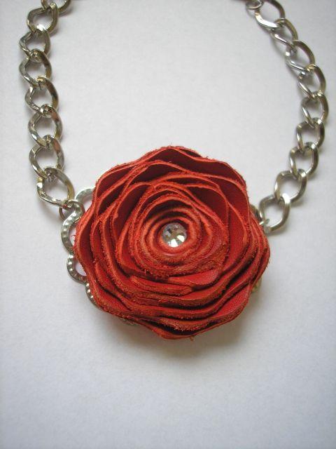 red rose leather bracelet