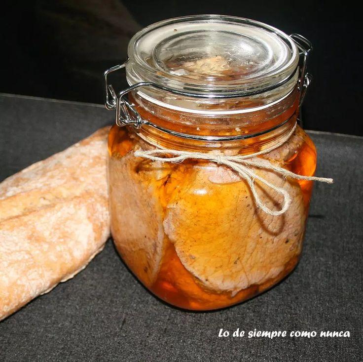 Lomo adobado casero en aceite