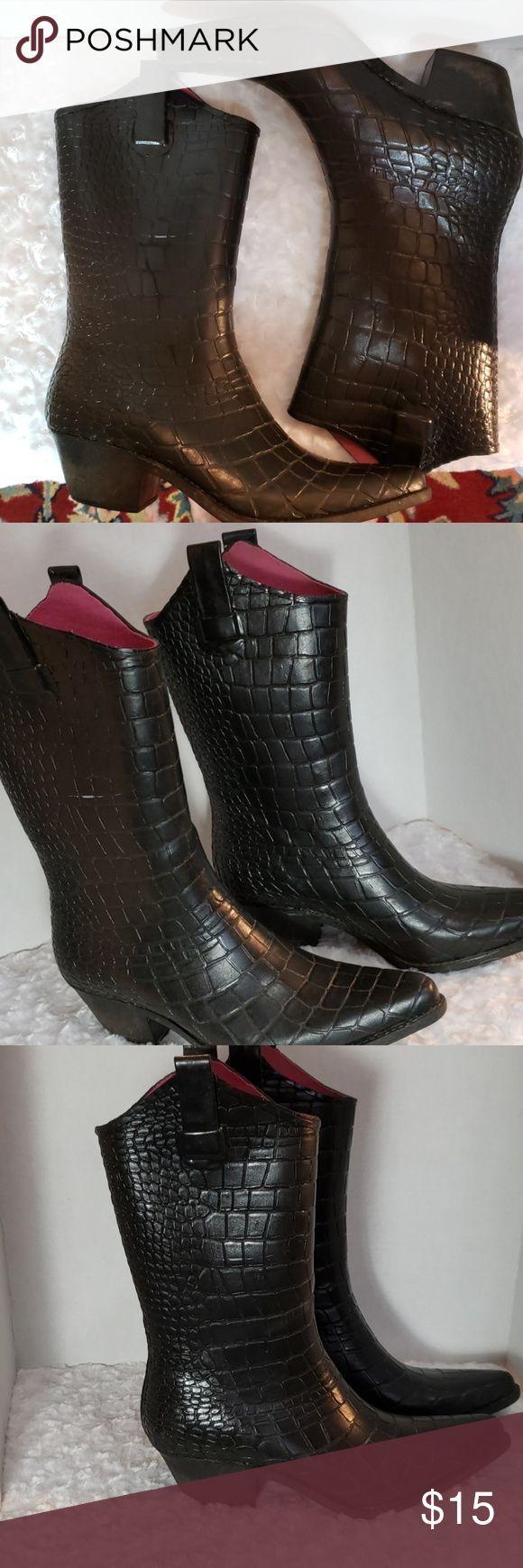 RAIN COWBOY BOOTS Größe 10 keine Marke schöner Zustand. Alligatormuster mit rosa