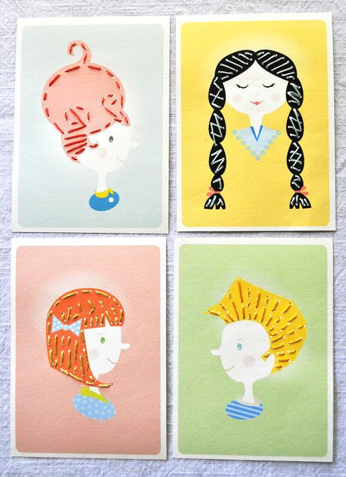 Sewing Card Activity For Kids - free printables. How cute! I like the idea that the kids make up a story about their character. They could also make their own head inspired by these...