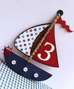 Handgemachte nautische Einladung - Segelboot - Boat - Geburtstag, Hochzeit, Babyparty, Anker, Sternen,