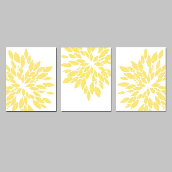 yellow accent wall art - master bedroom