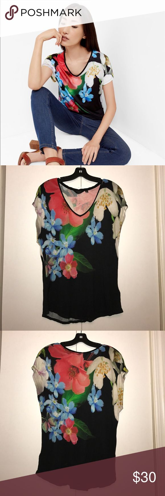 Ted Baker Forget Me Not tee Ted Baker v neck tee. Looks great with denim and skirts. Features signature Ted Baker florals! Ted Baker Tops Tees - Short Sleeve