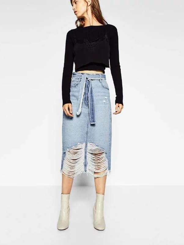 Saia Jeans Midi Desfiada - Compre Online