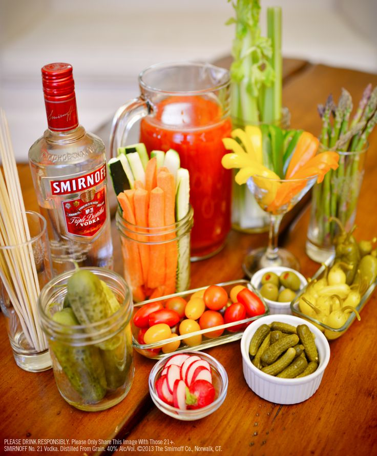 Bloody Mary Pitcher Recipe: 9 oz Smirnoff No. 21 Vodka (1.5 oz per serving), tomato juice, 1 lime juiced, 1 lemon juiced, 4 tsp hot sauce, 2 tbs horseradish,1 tbs Worcestershire sauce, 1 tsp celery salt, 1 tsp black pepper, ½ tsp salt, 1 tsp smoked paprika, 1 lime wedge. Blend all ingredients except vodka. Pour into pitcher. Rub lemon or lime wedge around the rim of highball glasses and then roll glass in celery salt. With ice cubes, fill 1/3 with vodka  top off with Bloody Mary mix. Serves…