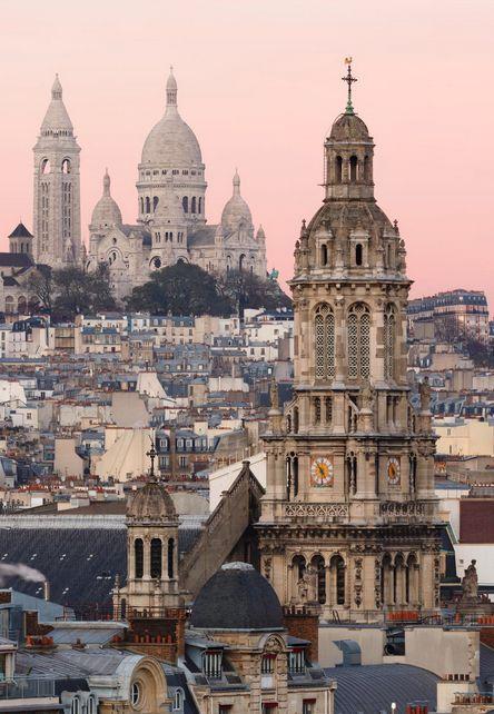 pink skies in paris