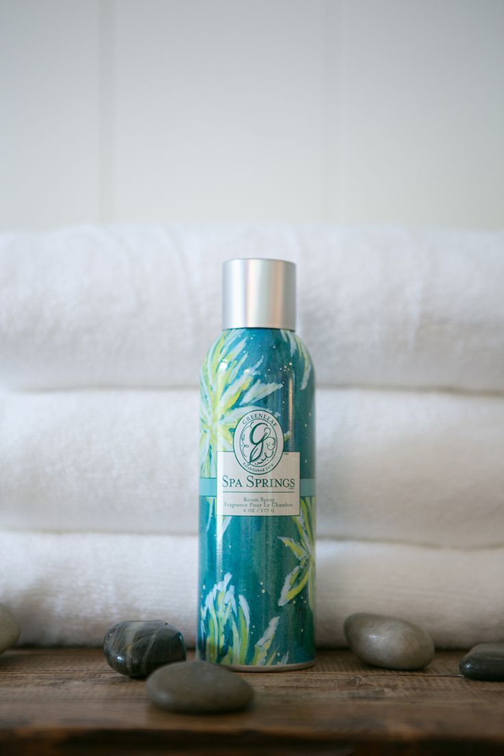 Greenleaf's Spa Springs fragrance: Aquatic notes are brightened with bergamot and green tangerine and balanced with musk and amber in a refreshing blend. A quick wave of this room spray will have your space smelling clean and fresh.