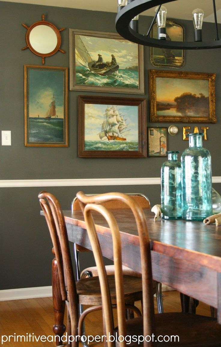 Vintage Nautical Painting Gallery Wall In A Dining Room