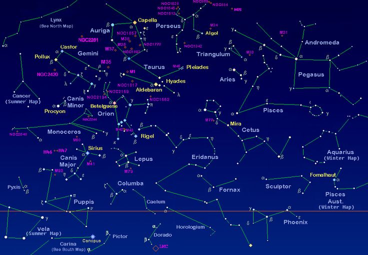 Northern Hemisphere Winter Constellation Map   Click on a constellation below for more information.