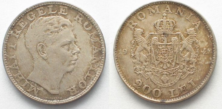 1942 Rumänien ROMANIA 200 Lei 1942 MIHAI I silver XF! # 95780 EF