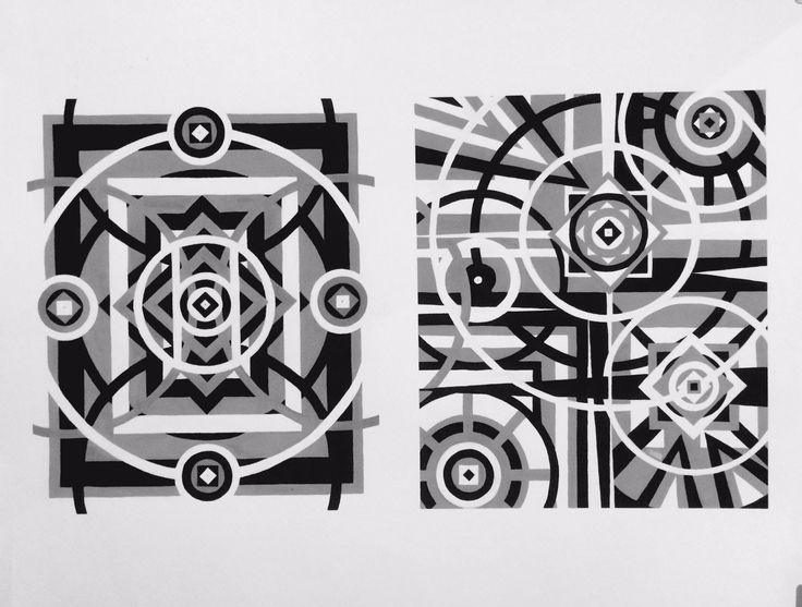 """Symmetry & Asymmetry 2D assignment gouache 24x18""""  2014 t. johnsen this was a time consumer! going to touch up top left of Asym. add more black...."""