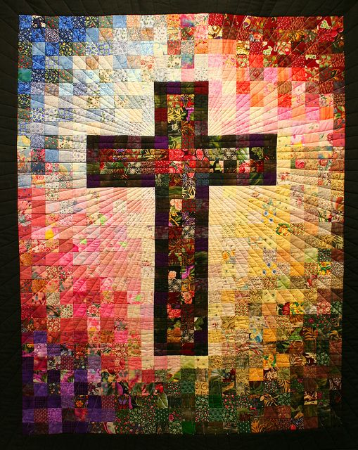 Watercolor cross -- Person making it printed the picture out then mapped the squares. It is a  beautiful cross.