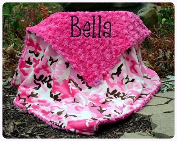 Camo Baby Blanket - Baby Girl - Pink Camo Minky- Hot Pink Minky Swirl- Personalized - Multiple Sizes