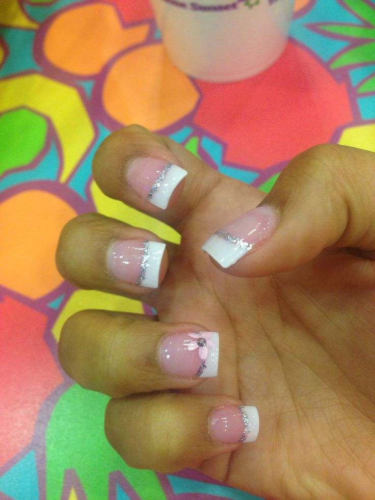White french tip nails with silver and pink flower design :-)
