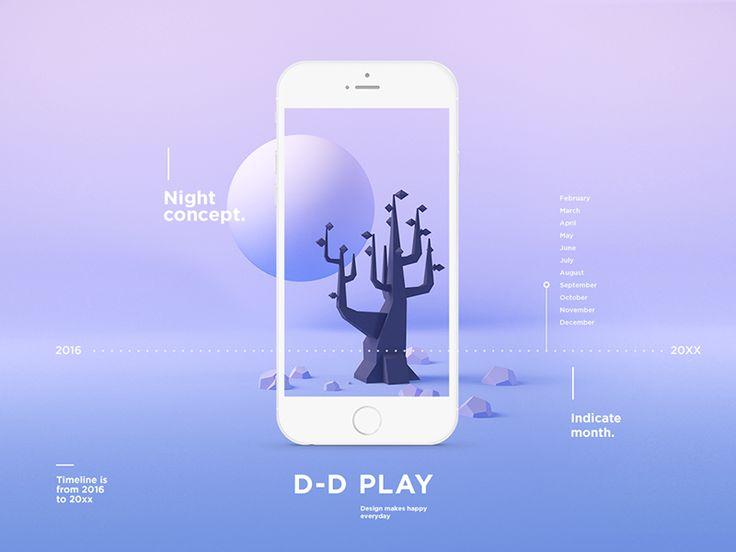 Night concept. mobile ui. graphic design. purple ombre. tree. moon.