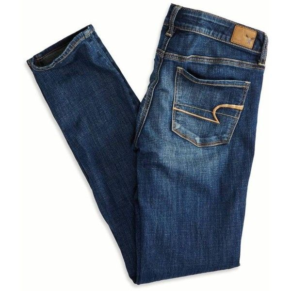 American Eagle Outfitters Skinny Jeans ($40) ❤ liked on Polyvore featuring jeans, pants, bottoms, denim, denim skinny jeans, blue slim jeans, skinny fit jeans, skinny jeans and long jeans