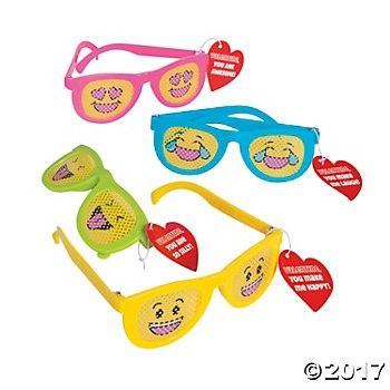 Valentine Emoji Pinhole Glasses - 12pk Party Supplies Canada - Open A Party