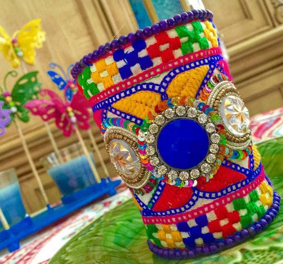 Bohemian, Gypsy, Hippie. Handmade Extra Wide Cuff, Bracelet. Embroidery. Amazing Colorful Trim from India. Big Medallions with Rhinestones.