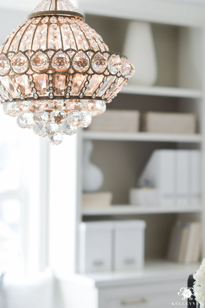 Lamps Plus Crystal Chandelier in elegant, neutral Home Office Makeover Reveal
