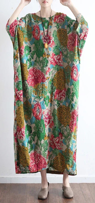 New Green Prints Linen Dresses Plus Size Vintage Casual Caftans Long Sleeve Maxi Dress Long Sleeve Cotton Dress Clothes Cotton Dress Outfit [ 1498 x 700 Pixel ]