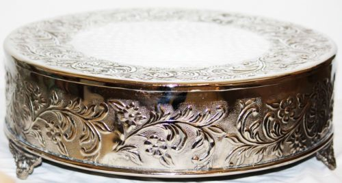Allure Wedding Silver Round Cake Stand Plateau 14In