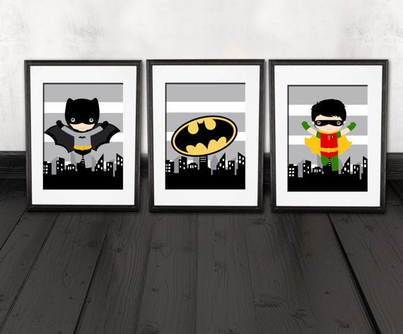 Batman Kids Room Batman Wall Decor Robin Set Of 3 Prints Super Hero Kids Bedroom Decor