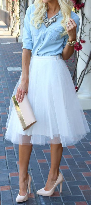 Tulle skirt + chambray top