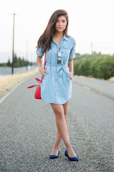 Casual summer work outfit idea: a denim shirtdress, inspired by Anoushka Probyn