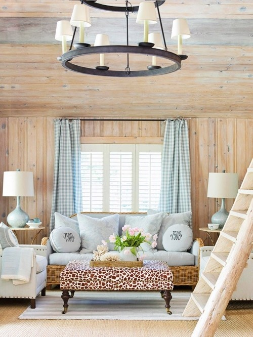 with a ladder to the loft.Lights, Coffe Tables, Coffee Tables, Cottages Style, Living Rooms, Beach House, Livingroom, Animal Prints, Wood Wall
