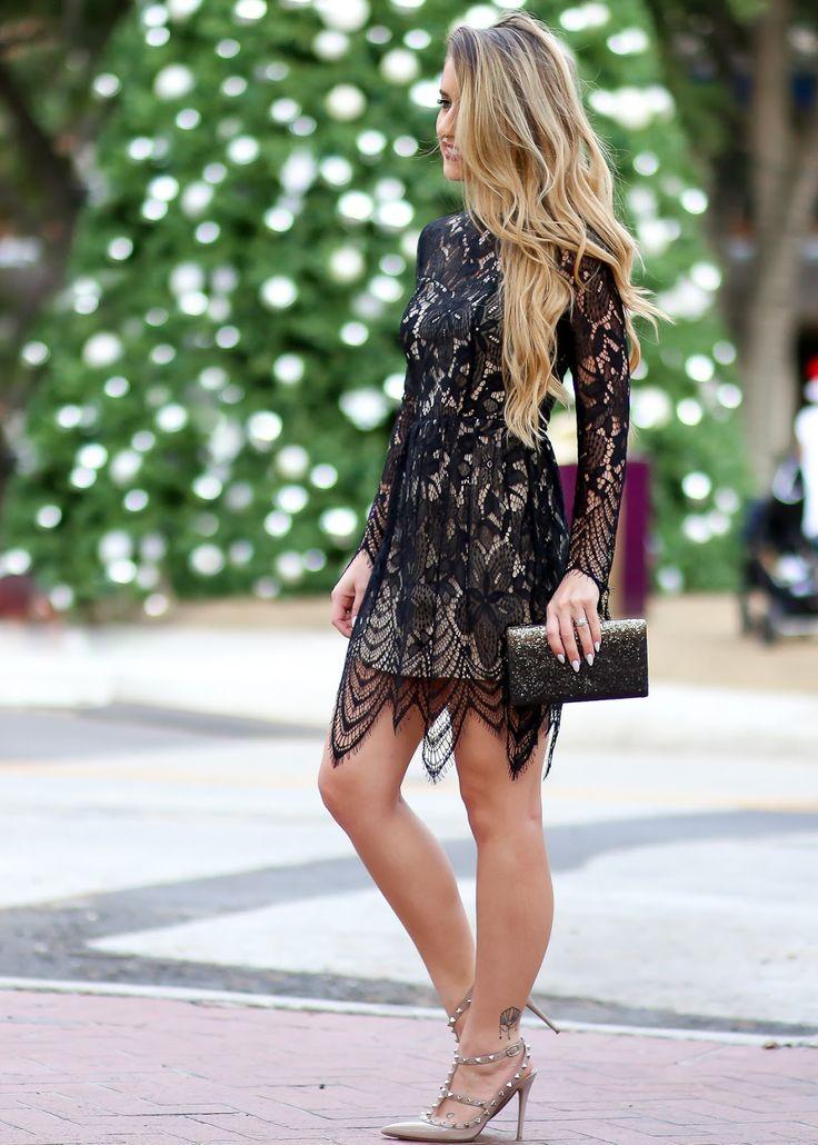 Black lace dress and nude Valentino Rockstud heels