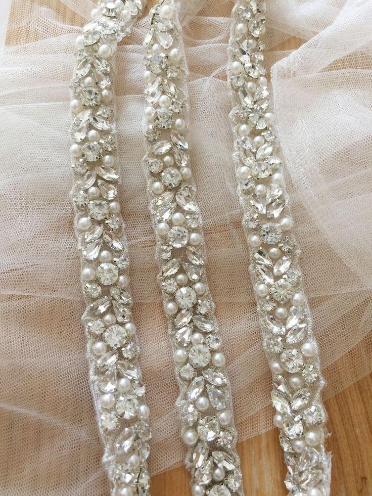 Thin rhinestone and pearl beaded trim for wedding belt