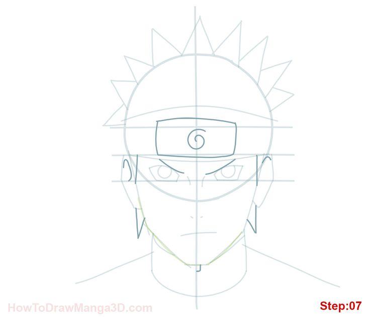 How to draw Naruto Uzamaki step 07