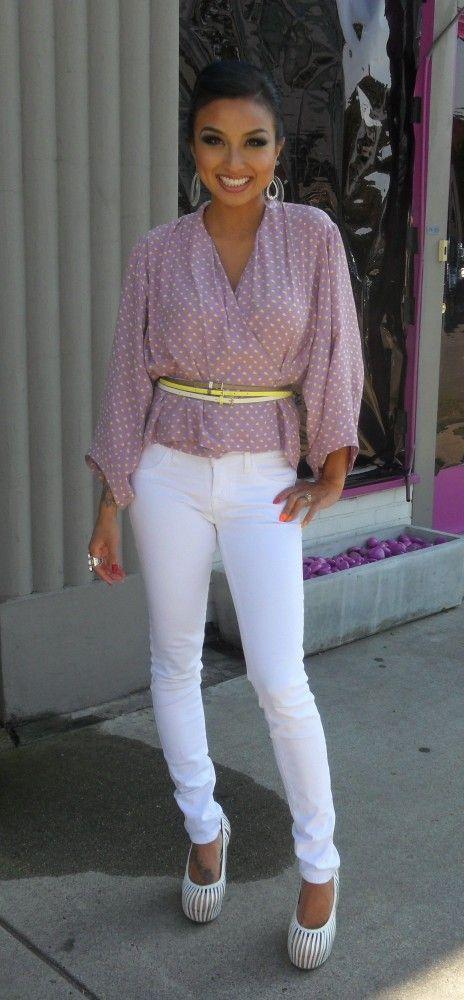 Mauve, Printed Wrap Top | Yellow, Skinny Belts | White, Denim  | (Jeannie Mai)