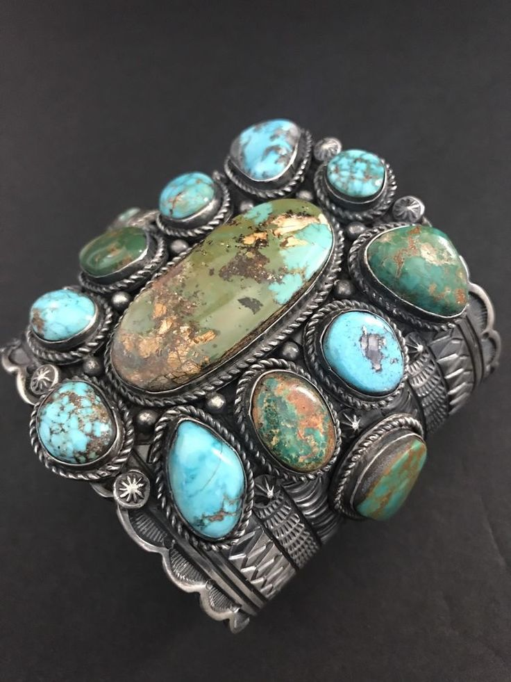 Rare Beautiful Native American Sterling Silver Royston Turquoise Bracelet T Jon  | eBay