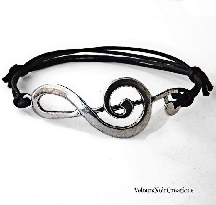 Bracciale chiave di violino argento tibetano, treble clef bracelet by Velours Noir Crèations, 9,50 € su misshobby.com