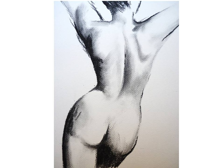 "Original Artwork Charcoal Nude Pose Woman's Back Drawing 11.5"" x 16"" approx"