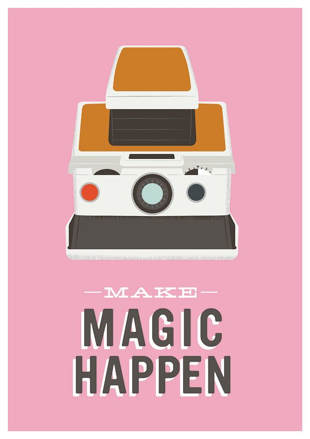 motivational art print  modern poster polaroid camera inspirational quote pink wall decor  Make magic happen. $22.00, via Etsy.