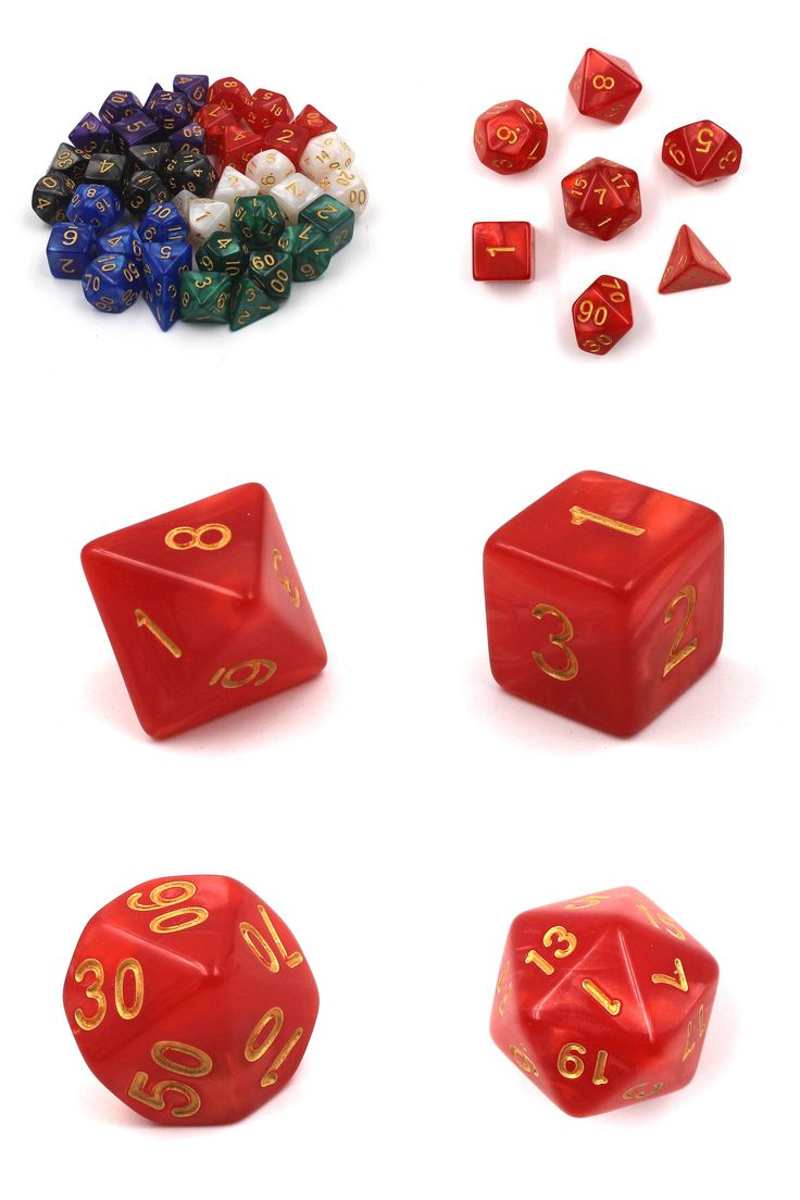 [Visit to Buy] Dice Set with Pearl effect multi-faceted digital game Dice poker d4 d6 d8 d10 d10 d12 d20 Polyhedral Dice rpg KTV game dice 7pcs #Advertisement