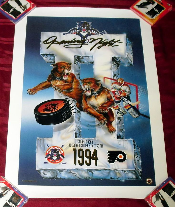 FLORIDA PANTHERS VS PITTSBURGH PENGUINS OPENING NIGHT 1994 PROMO POSTER 19X27 M