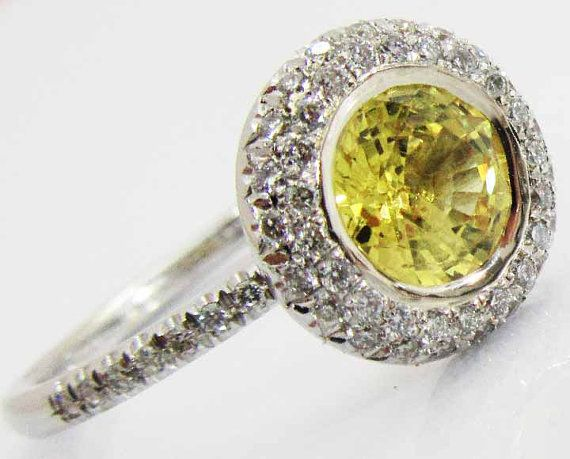 Halo Diamond Ring with 1.03 ct. Vivid Yellow by LianneJewelry
