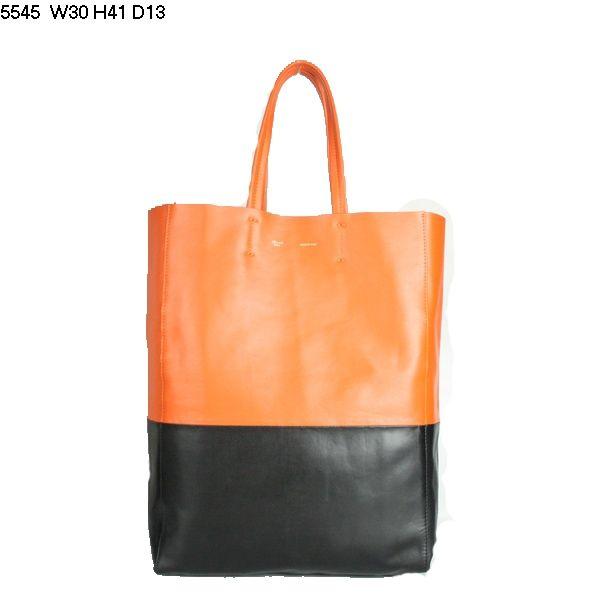 Celine Cabas Lambskin Leather Shopping Bag Orange 5545       $179.00