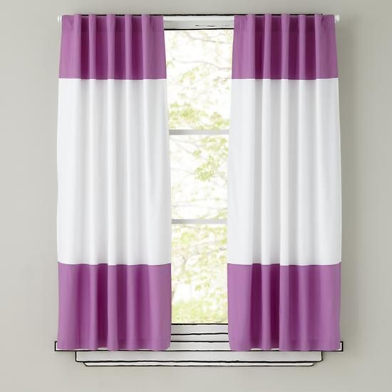 """Curtains_ColorBlock_LA - their pink blackout curtains as the center panel, adding green chevron to the top and bottom to get the right length - need new rod (84"""") and about 100"""" tall"""