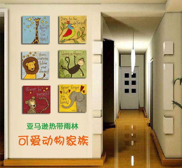 Симпатичные семья мультфильм животных Amazon исследование леса детская комната декоративной живописи рама картины картины проход - Taobao